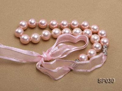 12mm pink round seashell pearl necklace with pink riband SP030 Image 4