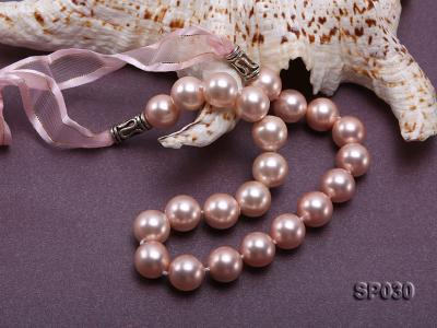 12mm pink round seashell pearl necklace with pink riband SP030 Image 5
