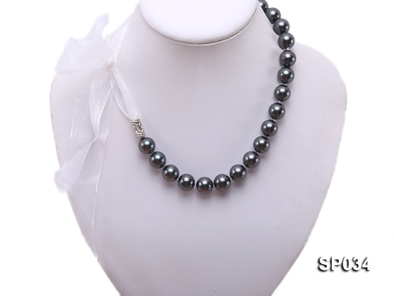 12mm black round seashell pearl necklace with white ribbon big Image 1