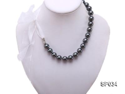 12mm black round seashell pearl necklace with white ribbon SP034 Image 1