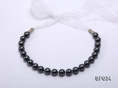 12mm black round seashell pearl necklace with white ribbon SP034 Image 2