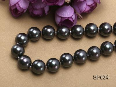 12mm black round seashell pearl necklace with white ribbon SP034 Image 3