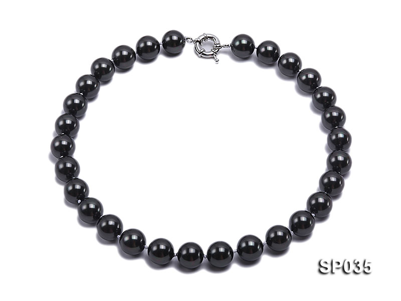 16mm shiny black round seashell pearl necklace big Image 1