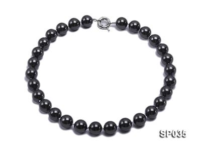16mm shiny black round seashell pearl necklace SP035 Image 1