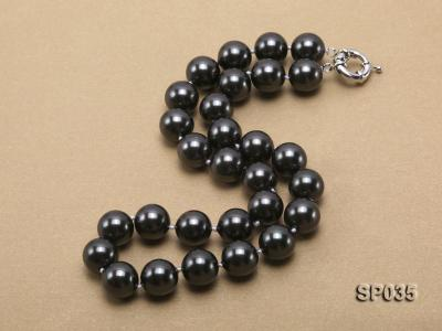 16mm shiny black round seashell pearl necklace SP035 Image 2
