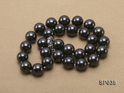 16mm shiny black round seashell pearl necklace SP035 Image 3