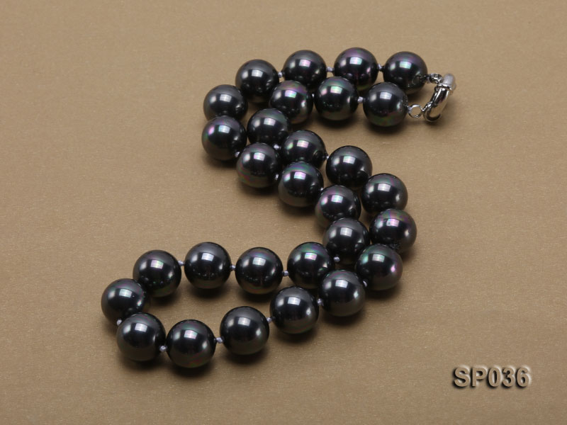 14mm black round seashell pearl necklace big Image 3