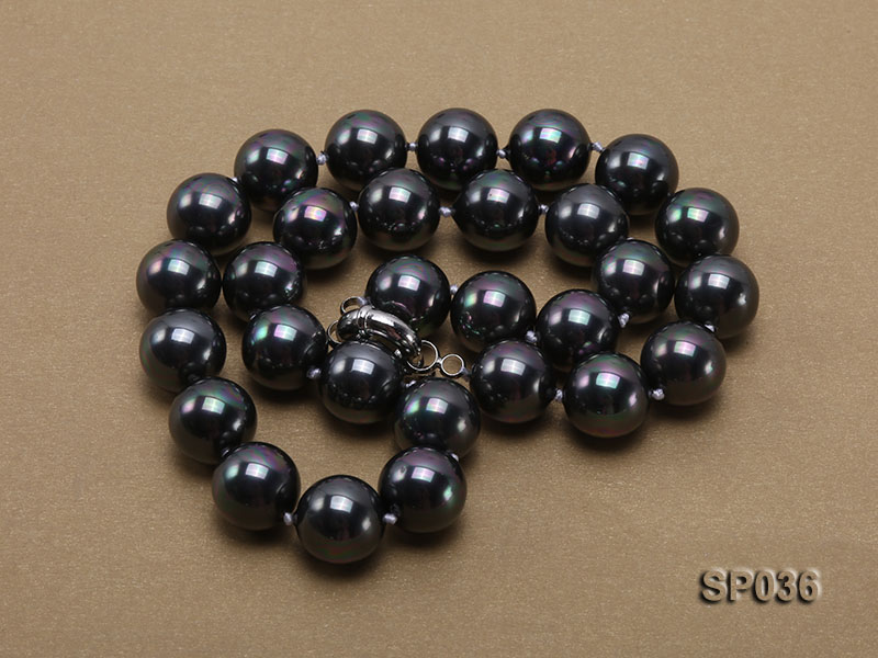 14mm black round seashell pearl necklace big Image 4