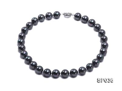 14mm black round seashell pearl necklace SP036 Image 1