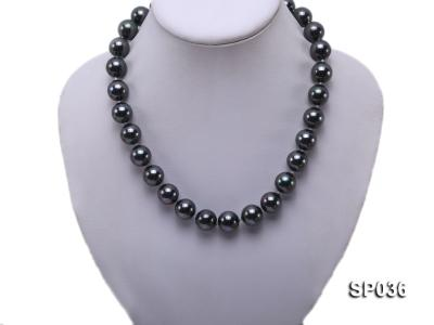14mm black round seashell pearl necklace SP036 Image 2