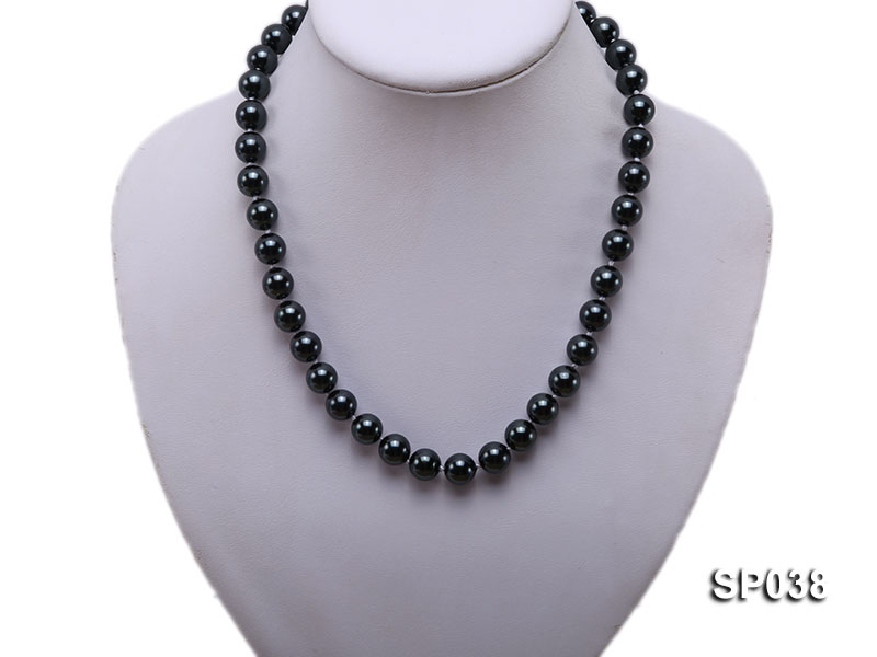 10mm black round seashell pearl necklace big Image 5