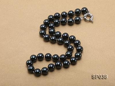 10mm black round seashell pearl necklace SP038 Image 2