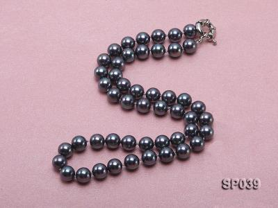 8mm black round seashell pearl necklace with white gilded clasp SP039 Image 2