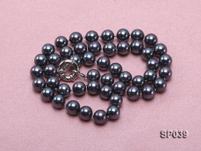 8mm black round seashell pearl necklace with white gilded clasp SP039 Image 3