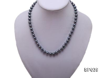 8mm black round seashell pearl necklace with white gilded clasp SP039 Image 5