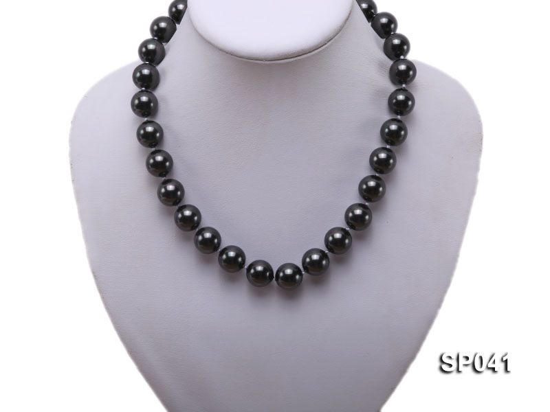 14mm black round seashell pearl necklace big Image 5