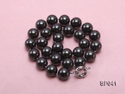 14mm black round seashell pearl necklace SP041 Image 3