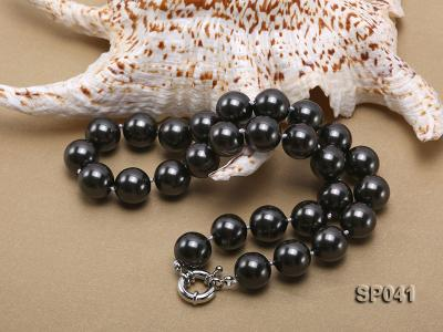 14mm black round seashell pearl necklace SP041 Image 4