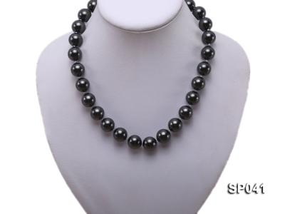 14mm black round seashell pearl necklace SP041 Image 5