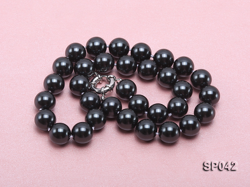 12mm black round seashell pearl necklace big Image 4