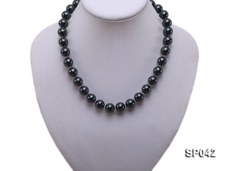 12mm black round seashell pearl necklace big Image 5