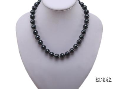 12mm black round seashell pearl necklace SP042 Image 5