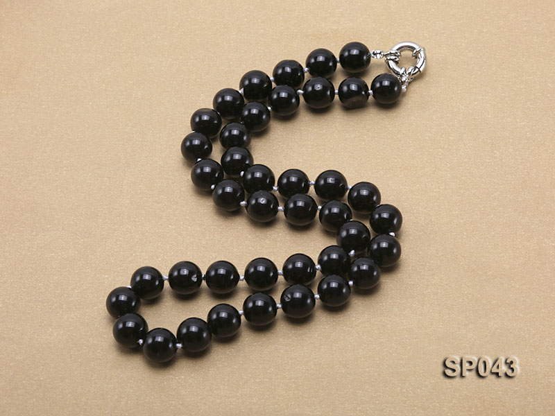 10mm black round seashell pearl necklace big Image 2