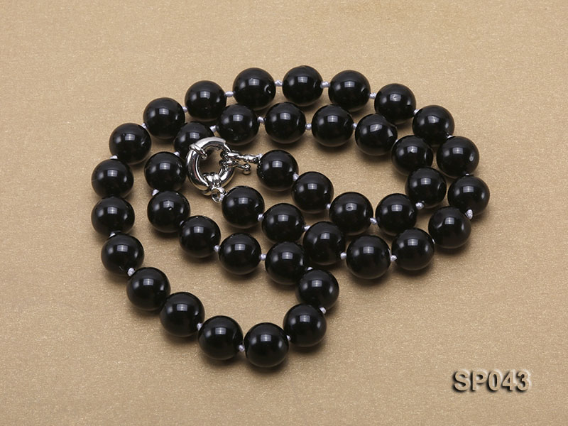 10mm black round seashell pearl necklace big Image 3