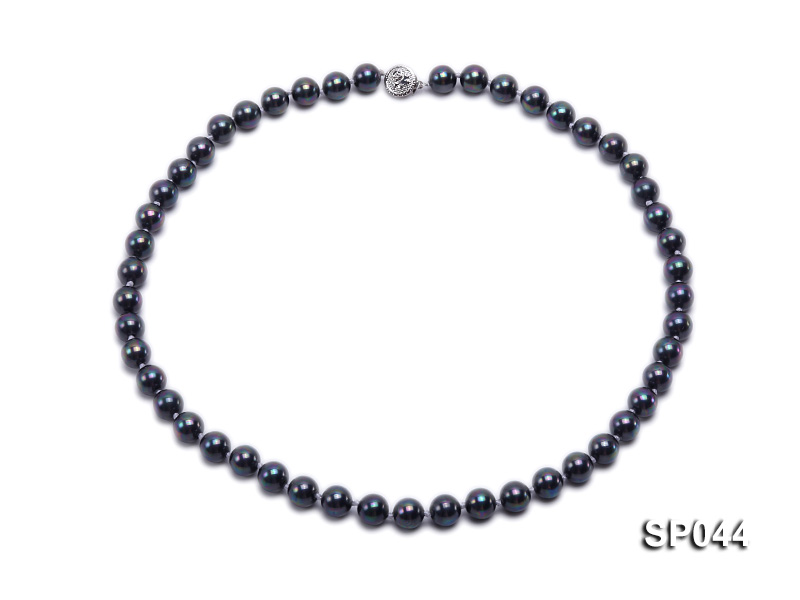 8mm black round seashell pearl necklace with white gilded clasp big Image 1