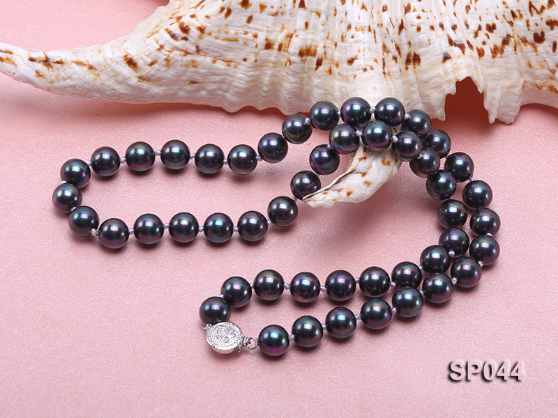 8mm black round seashell pearl necklace with white gilded clasp big Image 2