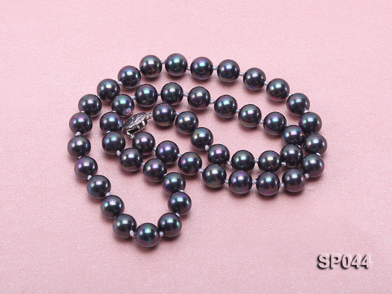 8mm black round seashell pearl necklace with white gilded clasp big Image 3