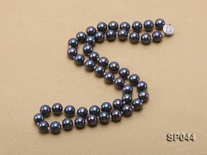 8mm black round seashell pearl necklace with white gilded clasp big Image 4