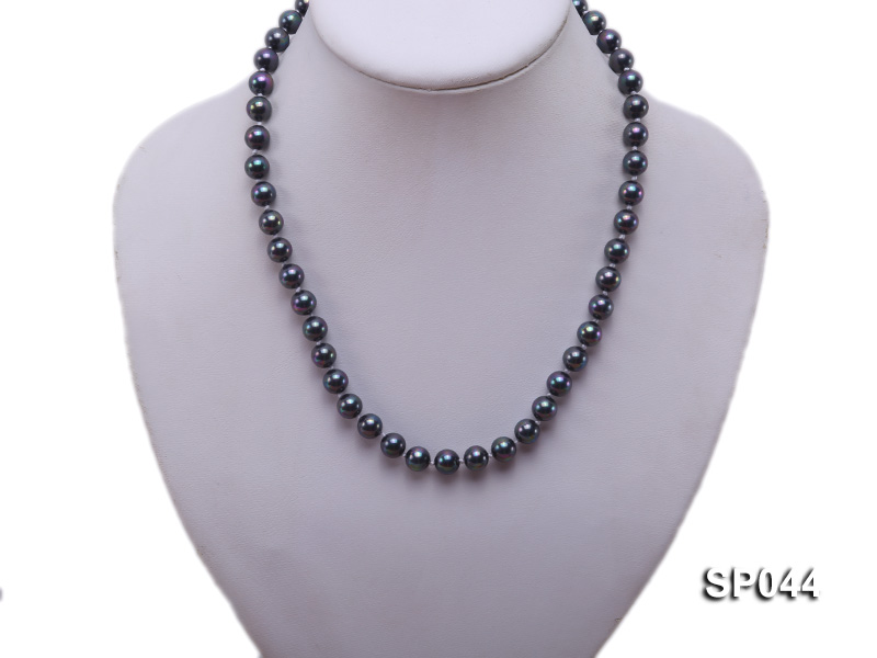 8mm black round seashell pearl necklace with white gilded clasp big Image 5