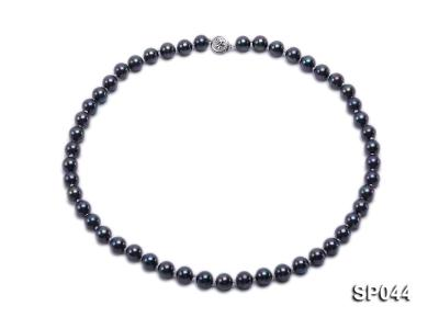 8mm black round seashell pearl necklace with white gilded clasp SP044 Image 1