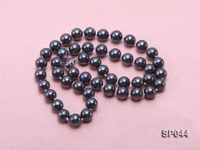 8mm black round seashell pearl necklace with white gilded clasp SP044 Image 3