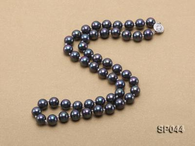 8mm black round seashell pearl necklace with white gilded clasp SP044 Image 4