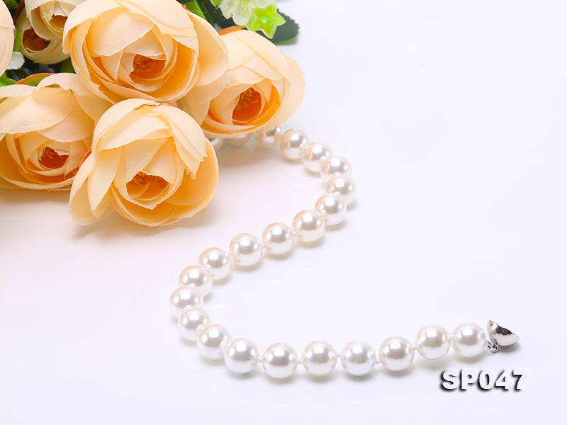 12mm white round seashell pearl necklace big Image 7
