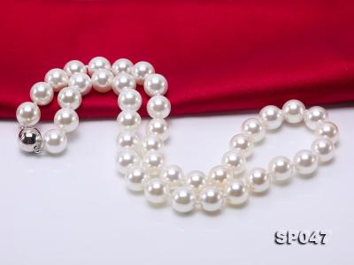 12mm white round seashell pearl necklace SP047 Image 3