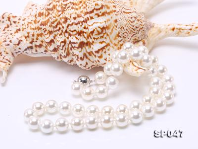12mm white round seashell pearl necklace SP047 Image 4