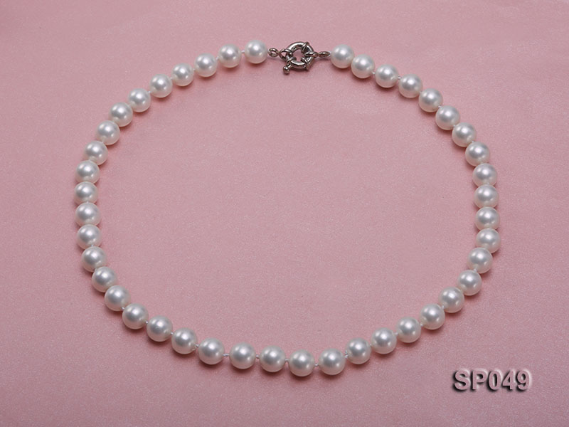10mm White Round Seashell Pearl Necklace  big Image 1