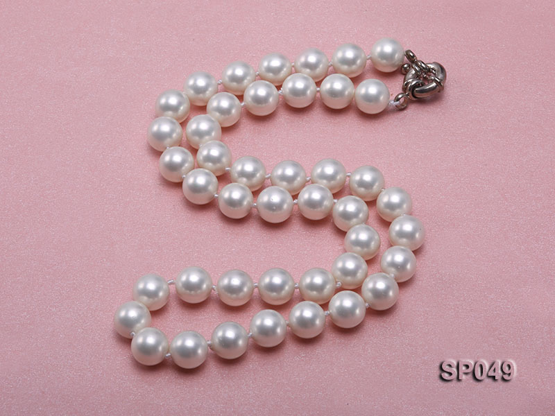 10mm White Round Seashell Pearl Necklace  big Image 2