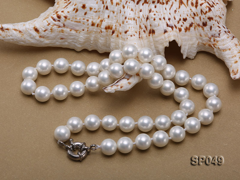 10mm White Round Seashell Pearl Necklace  big Image 3