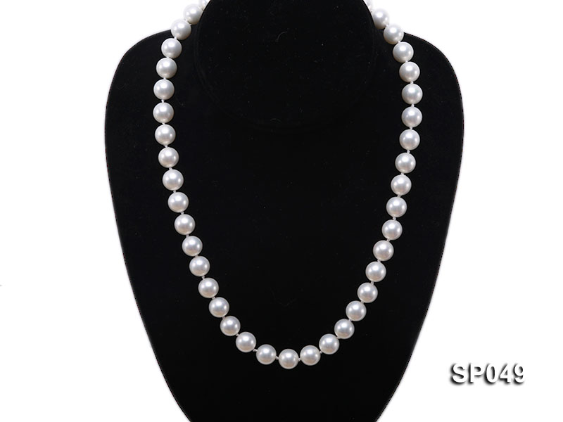 10mm White Round Seashell Pearl Necklace  big Image 5