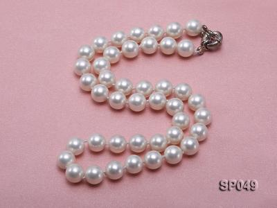 10mm White Round Seashell Pearl Necklace  SP049 Image 2