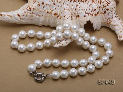 10mm White Round Seashell Pearl Necklace  SP049 Image 3