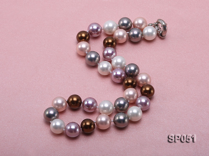12mm multi-color round seashell pearl necklace big Image 2