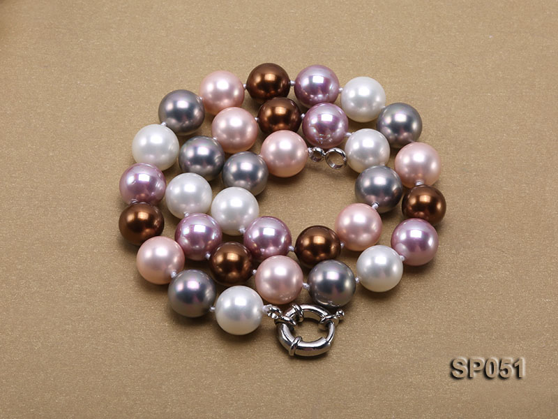 12mm multi-color round seashell pearl necklace big Image 4