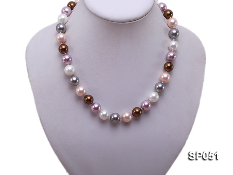 12mm multi-color round seashell pearl necklace big Image 5