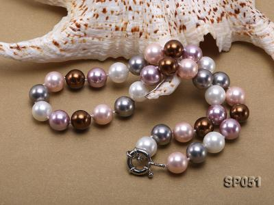 12mm multi-color round seashell pearl necklace SP051 Image 3