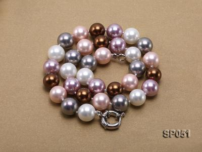 12mm multi-color round seashell pearl necklace SP051 Image 4